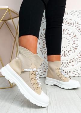 Yesenia Khaki Platform Knit Trainers