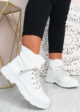 Yesenia White Platform Knit Trainers