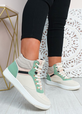 Malia Green Lace Up Trainers