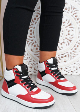 Malia White Red Lace Up Trainers