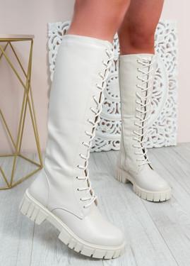 Priscilla Beige Knee High Biker Boots