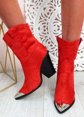 Brenna Red Block Heel Mid Calf Boots