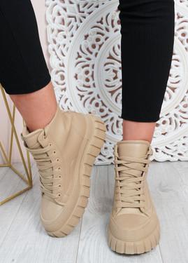 Paola Khaki Flatform Ankle Boots