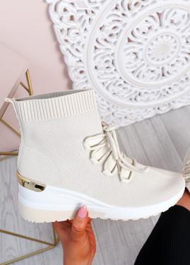 Shayna Beige Wedge Sock Sneakers