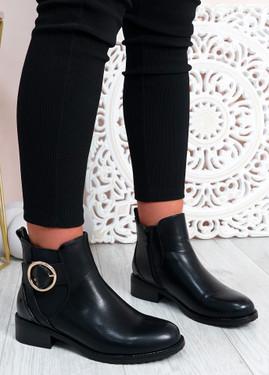 Talia Black Pu Ankle Boots