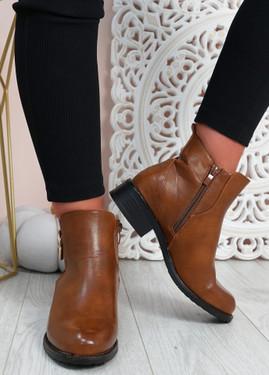 Talia Camel Pu  Ankle Boots