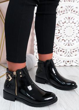 Cassandra Black Patent Zip Ankle Boots