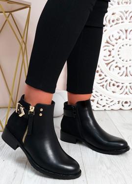 Cassandra Black Pu Zip Ankle Boots