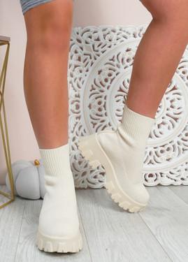 Erin Beige Knit Sock Ankle Boots