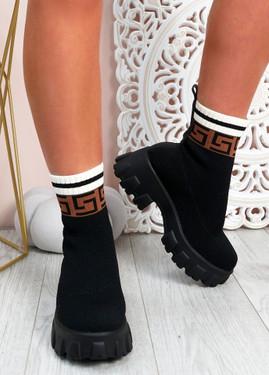 Erin Black Flower Knit Sock Ankle Boots