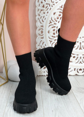 Erin Black Knit Sock Ankle Boots