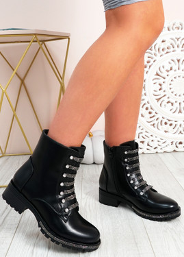 Ivy Black Pu Studded Ankle Boots