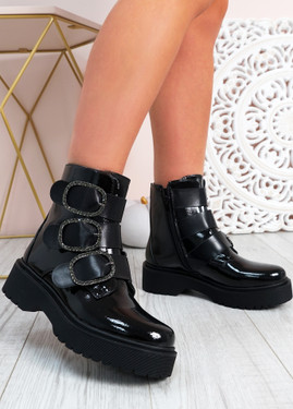 Nydia Black Platform Ankle Boots