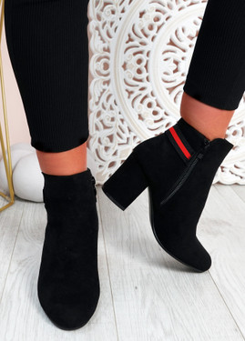 Priscilla Black Suede Block Heel Ankle Boots