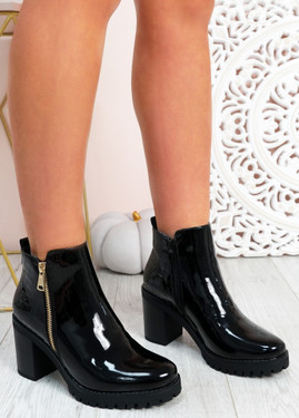 Makaila Black Patent Block Heel Ankle Boots