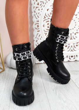 Janae Black Pu Biker Ankle Boots