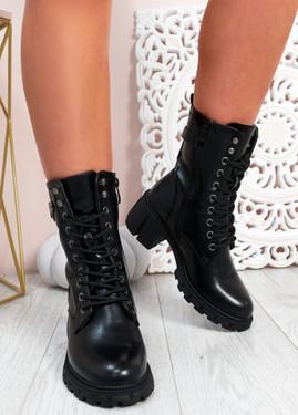 Juliet Black Pu Biker Ankle Boots