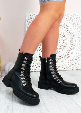 Nevaeh Black Pu Ankle Boots