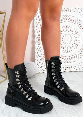 Nevaeh Black Patent Ankle Boots
