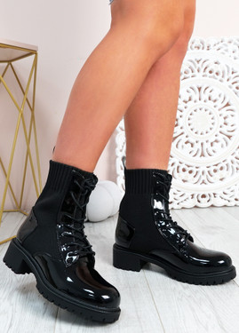 Roy Black Patent Ankle Boots