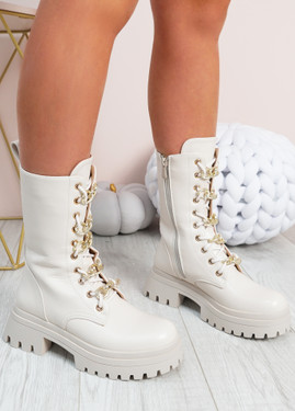 Celia Beige Mid Calf Ankle Boots