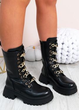 Celia Black Mid Calf Ankle Boots
