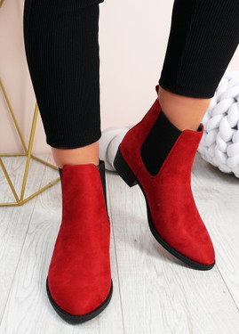Juliette Red Suede Chelsea Ankle Boots