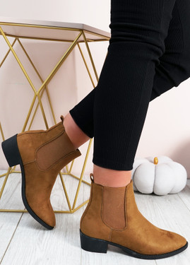 Juliette Tan Suede Chelsea Ankle Boots