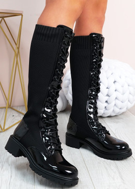 Misty Black Patent Knit Mid Calf Ankle Boots