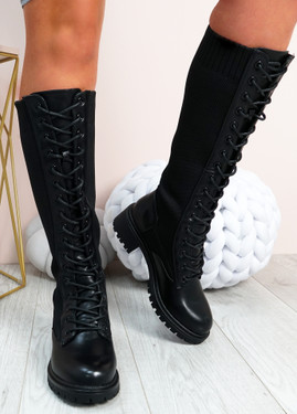 Misty Black Pu Knit Mid Calf Ankle Boots
