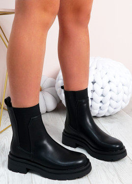 Aileen Black Pu Slip On Ankle Boots