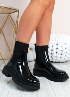 Aileen Black Patent Slip On Ankle Boots