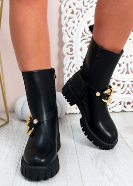 Wilona Black Mid Calf Chelsea Ankle Boots