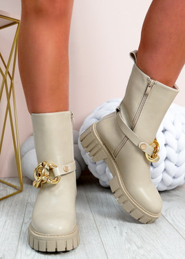 Wilona Beige Mid Calf Chelsea Ankle Boots