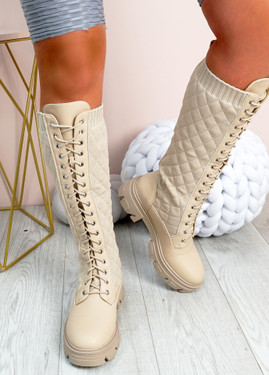 Sybil Beige Quilted Mid Calf Boots