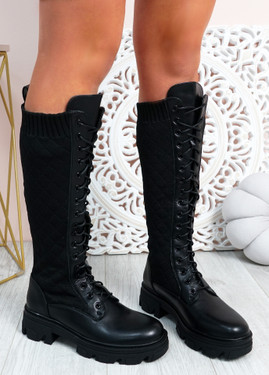 Sybil Black Quilted Mid Calf Ankle Boots