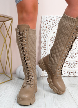 Sybil Khaki Quilted Mid Calf Boots