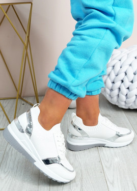 Alexie White Wedge Trainers