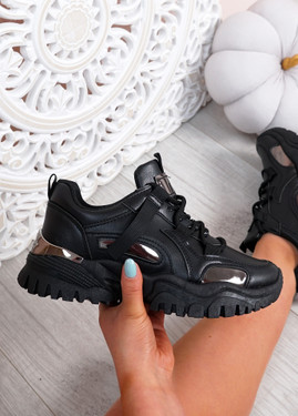 Luther Black Chunky Trainers