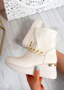 Noji Beige Wedge Ankle Boots