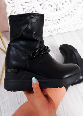 Noji Black Wedge Ankle Boots
