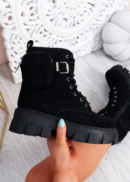 Audrina Black Zip Ankle Boots
