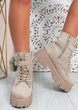 Audrina Beige Zip Ankle Boots