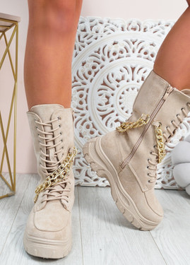 Paola Beige Mid Calf Chain Boots