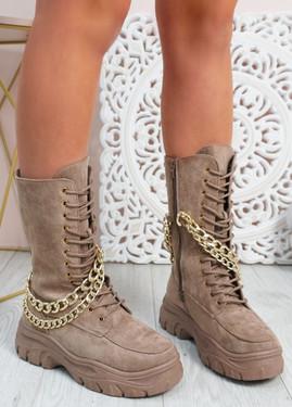 Paola Khaki Mid Calf Chain Boots