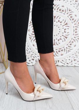 Antonia Beige High Heels Chain Shoes