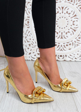 Antonia Gold High Heels Chain Shoes