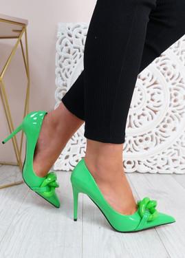 Antonia Green High Heels Chain Shoes