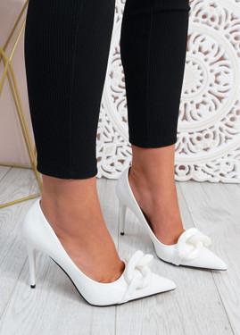 Antonia White High Heels Chain Shoes