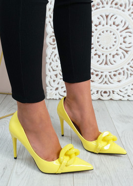 Antonia Yellow High Heels Chain Shoes